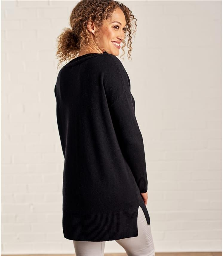 Womens Cashmere Merino Deep V Neck Tunic
