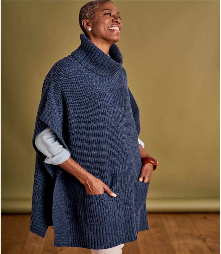 Womens Lambswool Pocket Detail Poncho