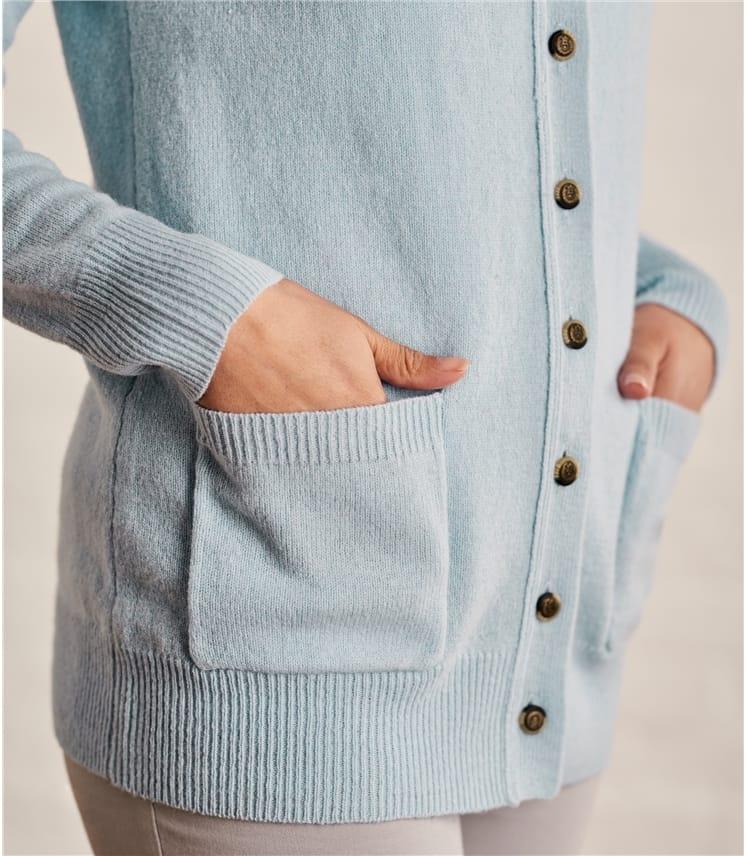 Strickjacke mit Rundhalsausschnitt aus Lammwolle für Damen