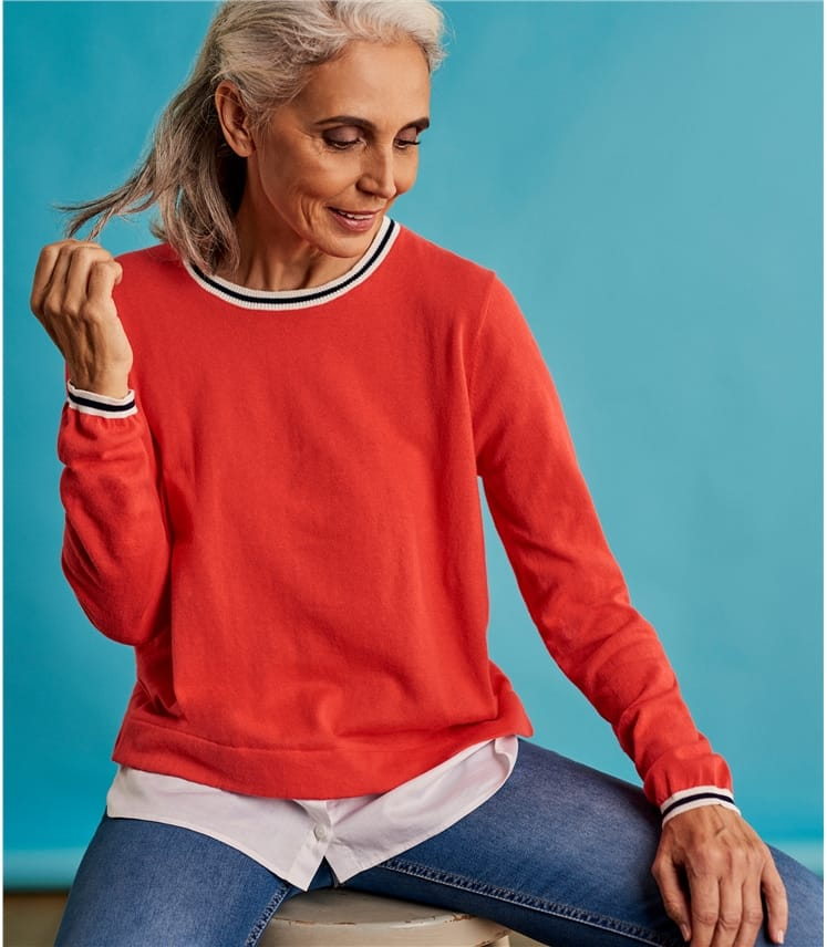 Womens 2 in 1 Shirt Hem Sweater
