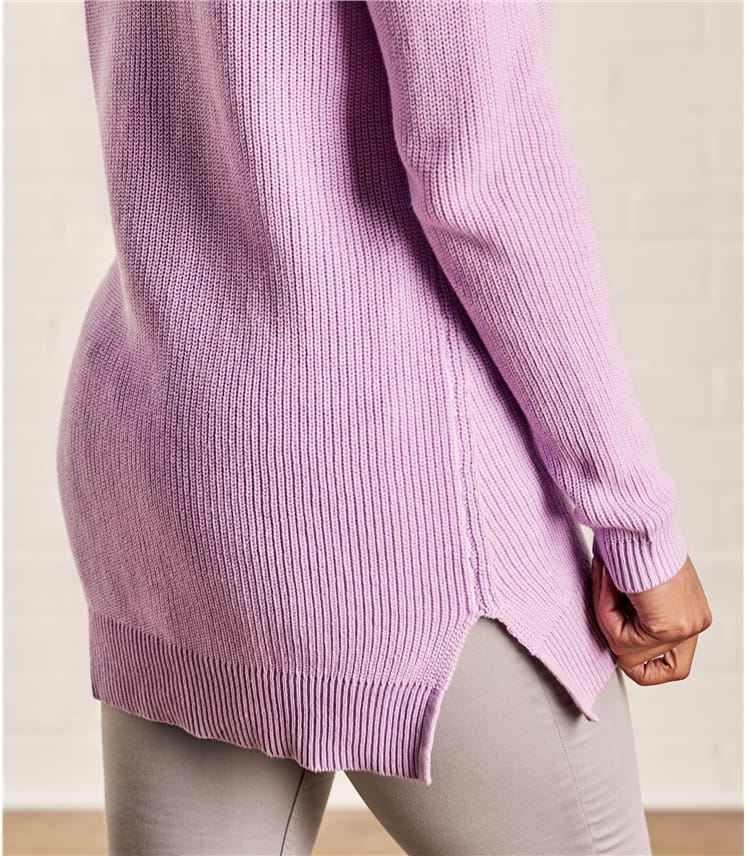 Womens Cotton Pointelle Detail Jumper