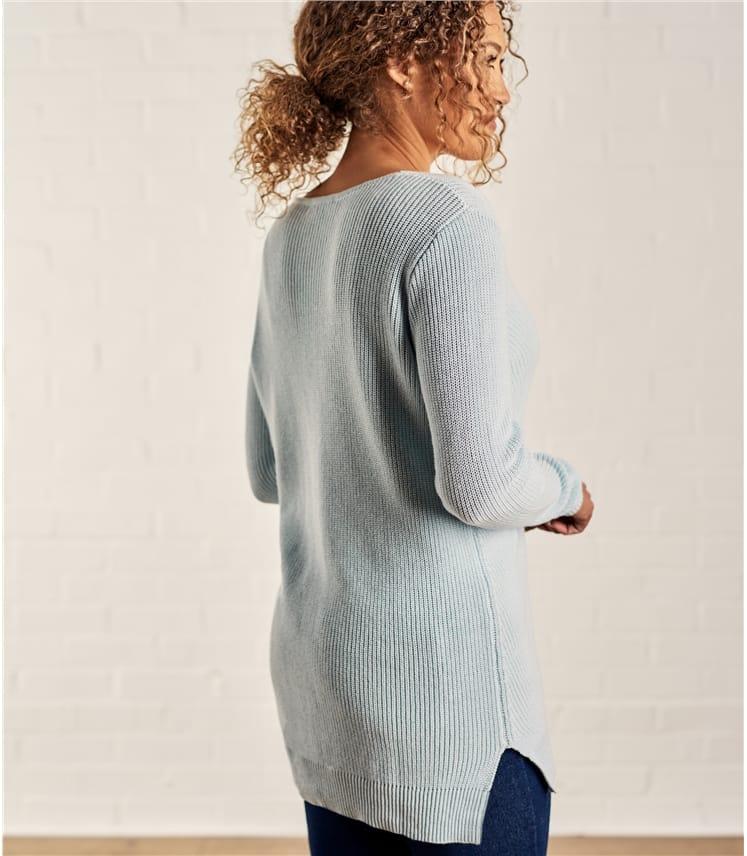 Womens Cotton Pointelle Detail Sweater