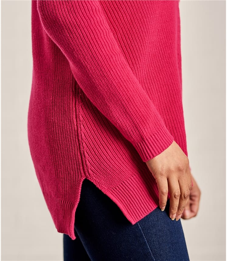 Womens Cotton Pointelle Detail Sweater