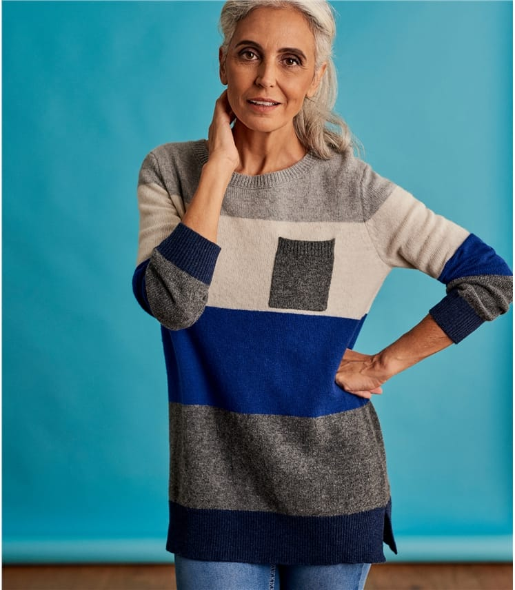 Womens Merino Wide Stripe Colour Block Jumper