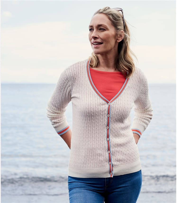 Womens Cotton Cashmere Tipped V Neck Cable Cardigan
