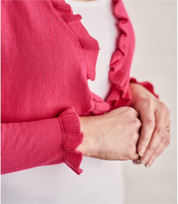 Womens Silk Cotton Frill Edge Bolero