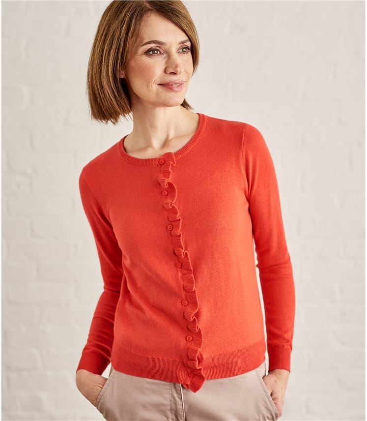 Womens Silk Cotton Frill Placket Cardigan