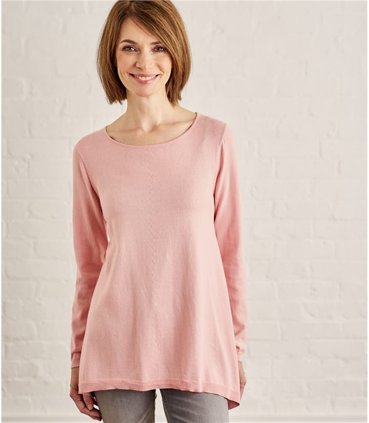 Pullover mit lockerem Saum aus Wollmischung für Damen