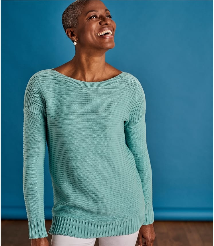 Womens Cotton Boat Neck Jumper