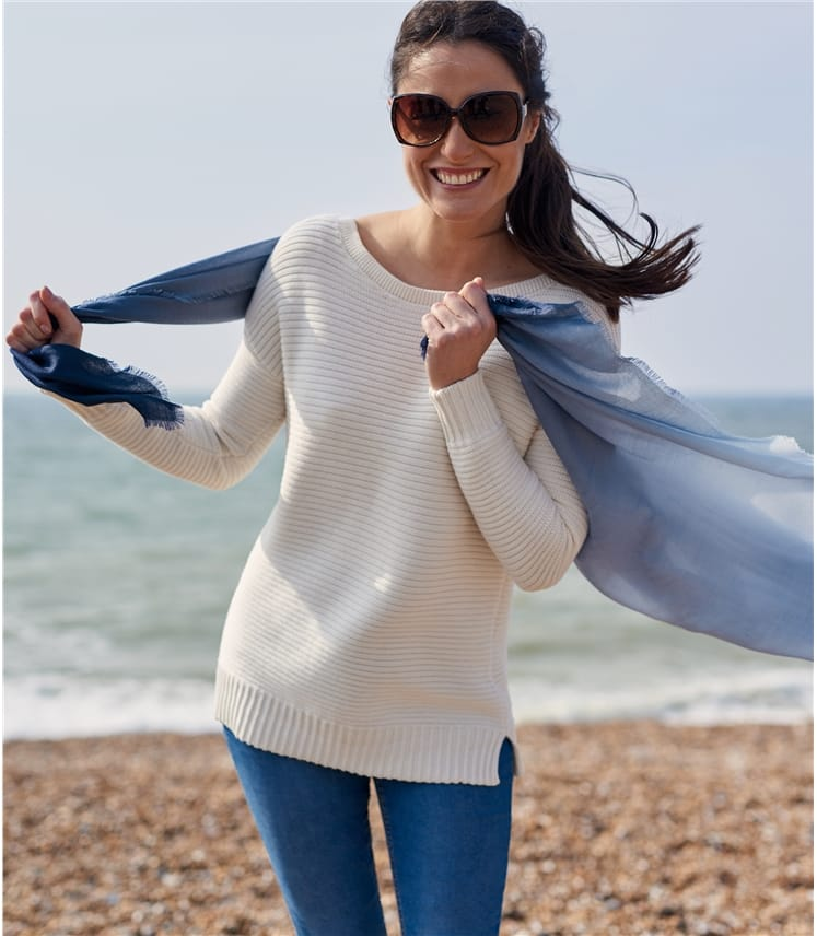 Womens Cotton Boat Neck Sweater