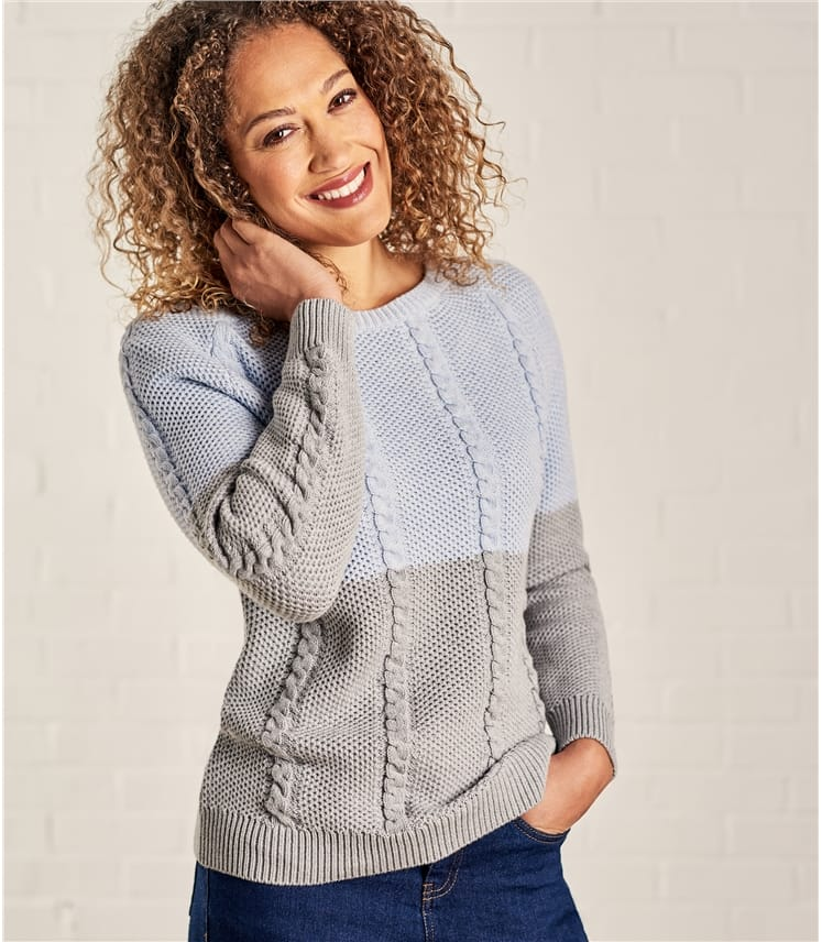 Womens Cotton Cable Colourblock Jumper