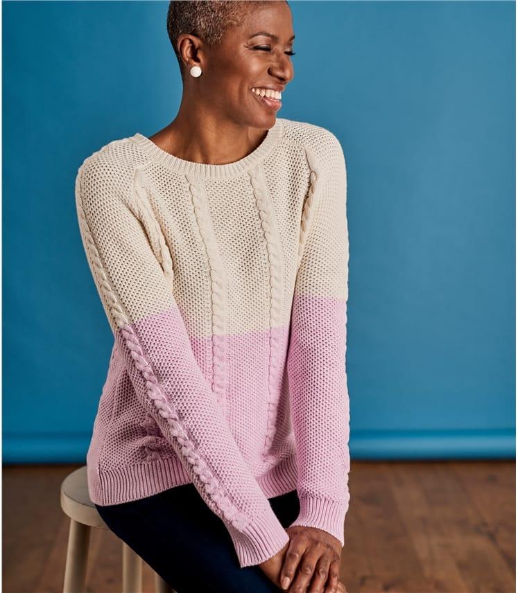 Womens Cotton Cable Colourblock Jumper