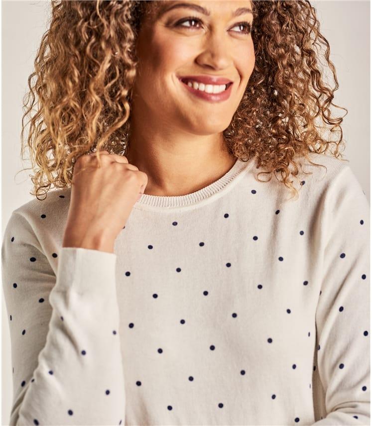 Womens Wool Blend Spot Jumper