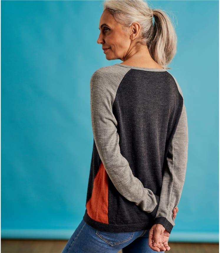 Pull sport motif colour block - Femme - Pur Mérinos