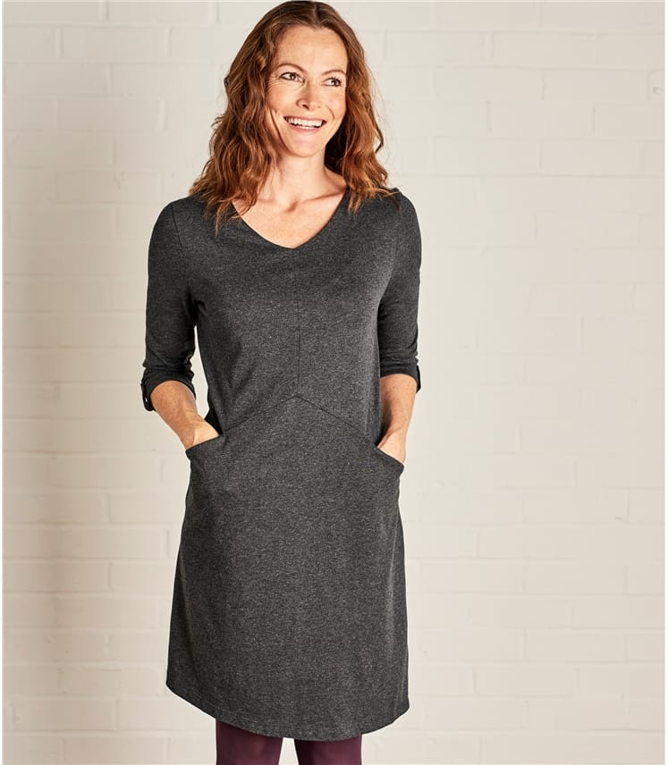 Women 3/4 Sleeve Tunic Dress