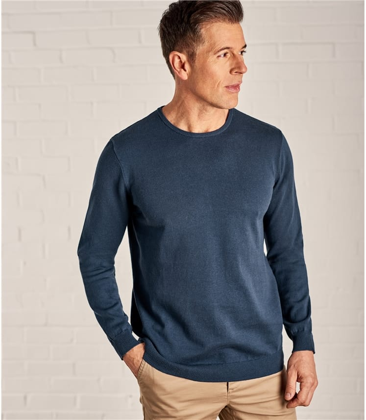 Mens Combed Cotton Crew Neck Sweater