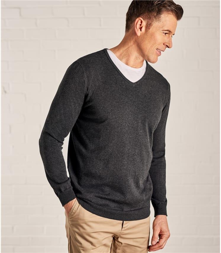 Pull à col V - Homme - Coton peigné
