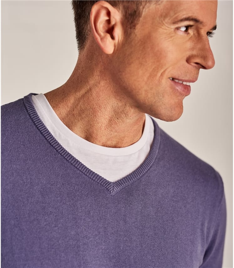 Mens Combed Cotton V Neck Jumper