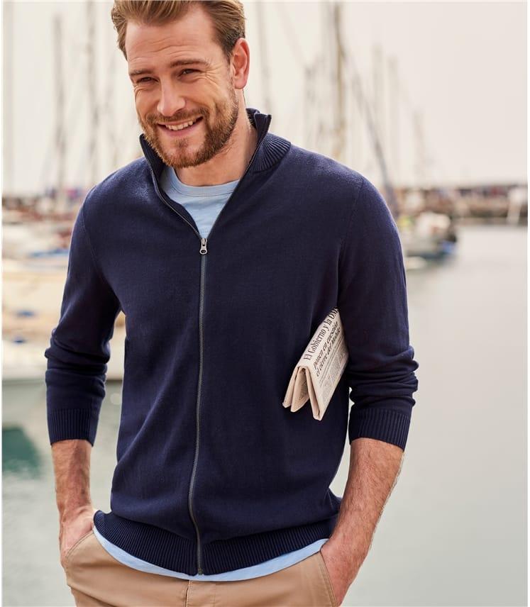 Cardigan zippé - Homme - Coton peigné