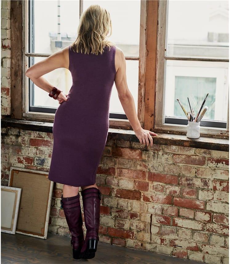 Ärmelloser Milano Kleid aus Merinowolle für Damen