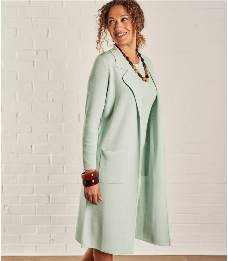 Womens Milano Lapel Collar Long Jacket