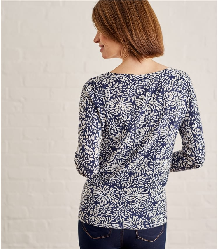 Womens Boat Neck Print Jumper