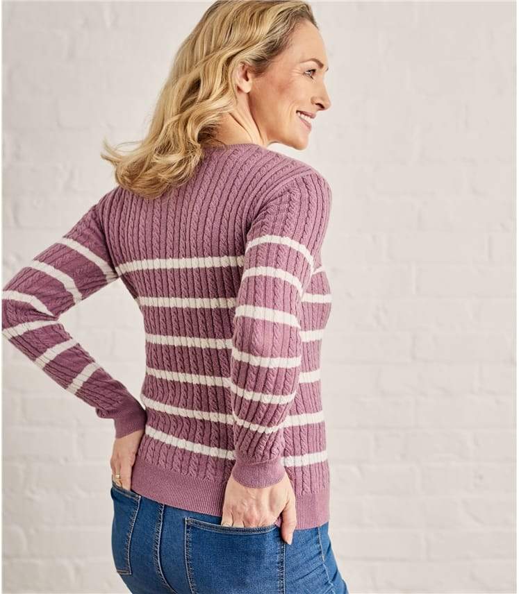 Womens Breton Stripe Cable Crew Neck Jumper
