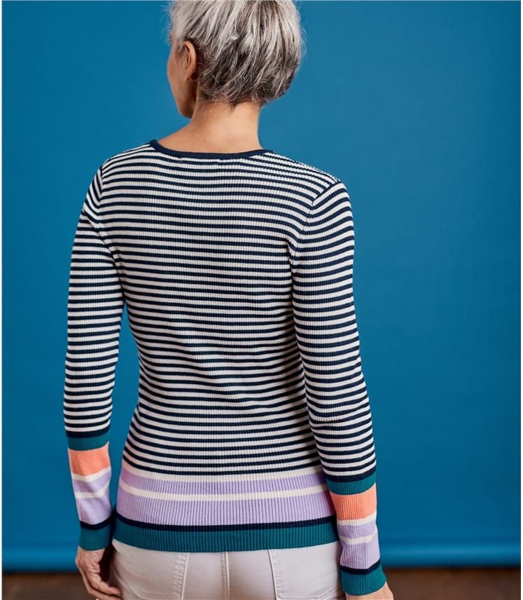 Womens Contrast Stripe Ribbed Jumper