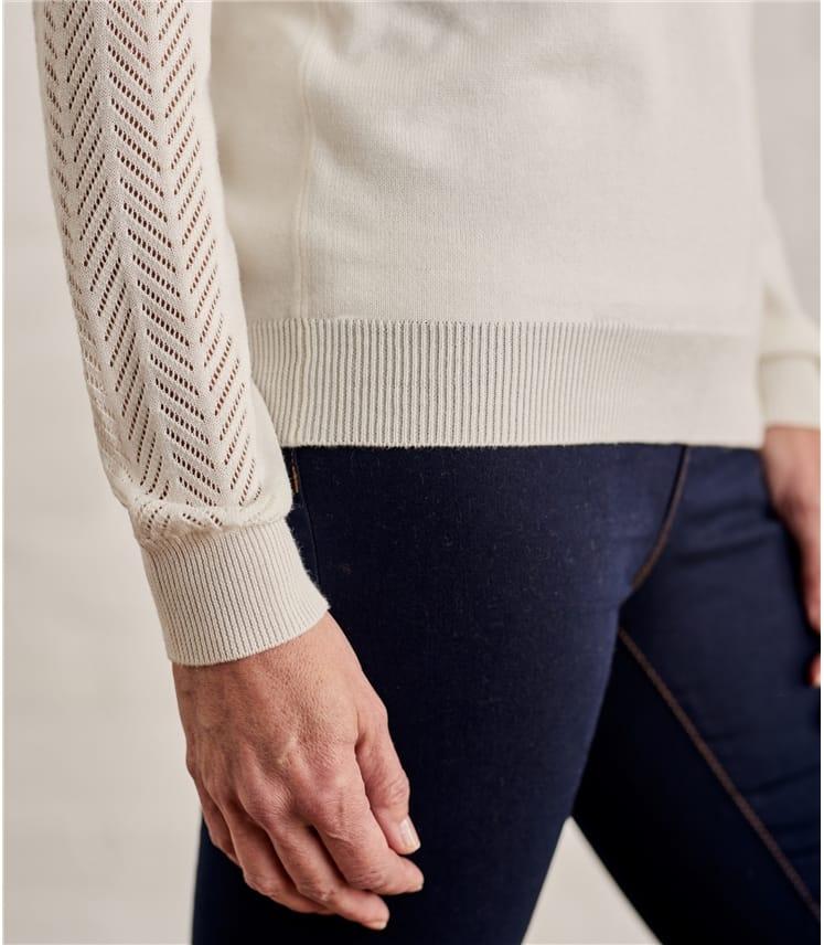 Womens Cotton Blend Pointelle Panel Jumper
