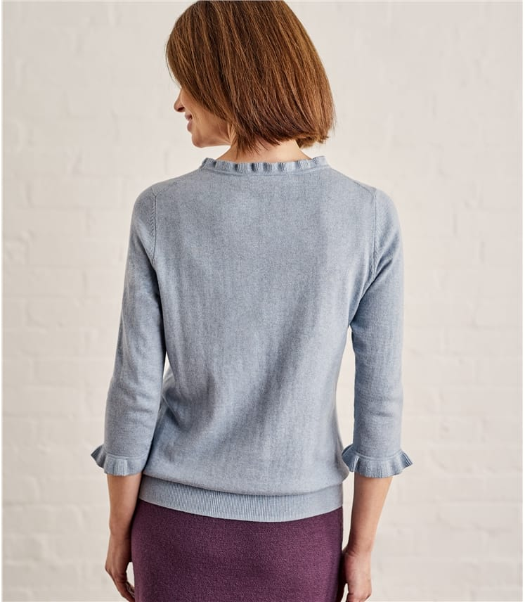 Womens Frill Neck Sweater