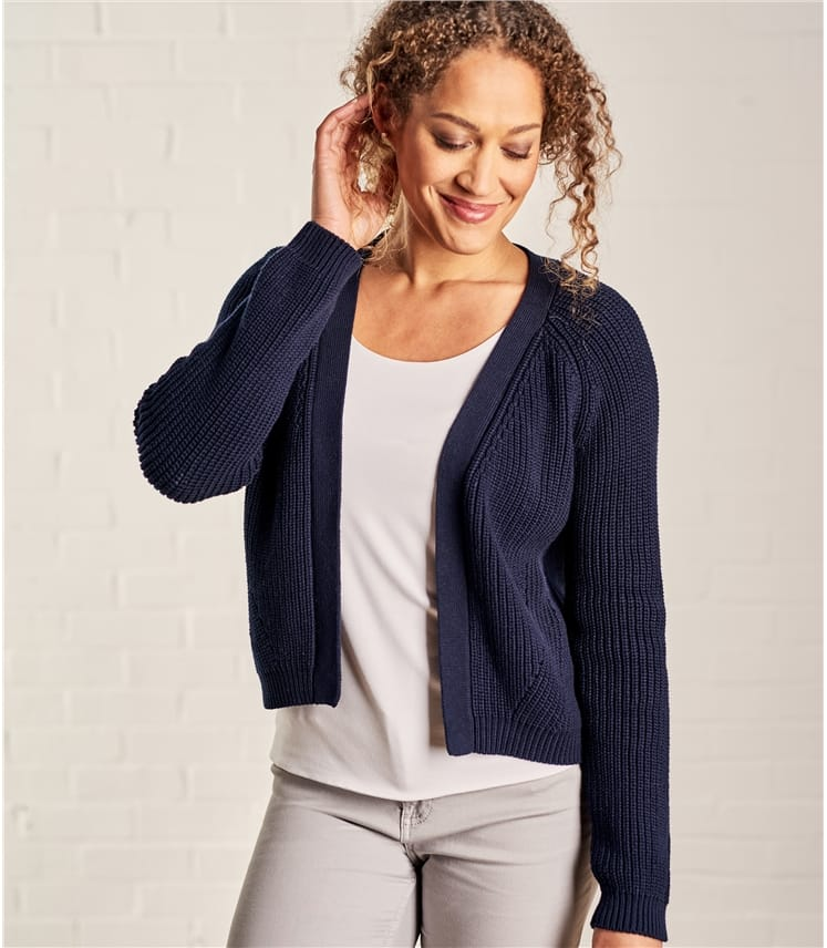 Womens Pure Cotton Crop Open Cardigan