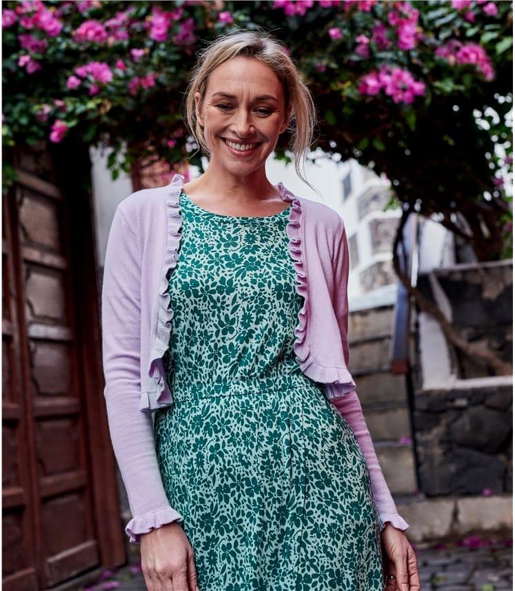 Jersey Kleid mit Wickelrock aus Wollmischung für Damen