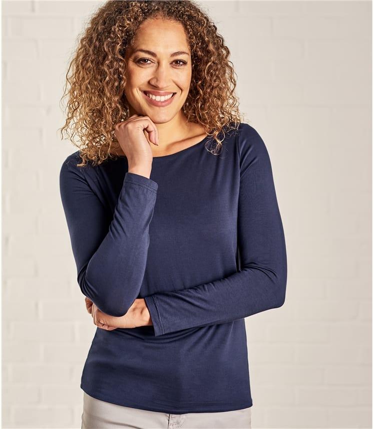Womens Jersey Boat Neck Long Sleeve T-Shirt
