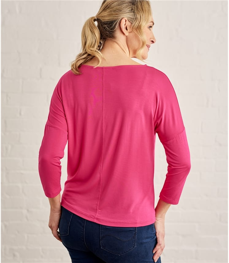 Womens Jersey Boat Neck Drop Sleeve Tee