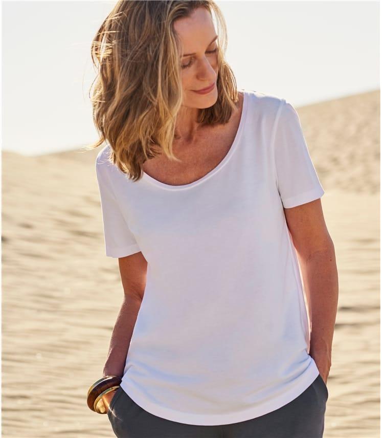 T-shirt à encolure dégagée et manches courtes - Femme - Jersey