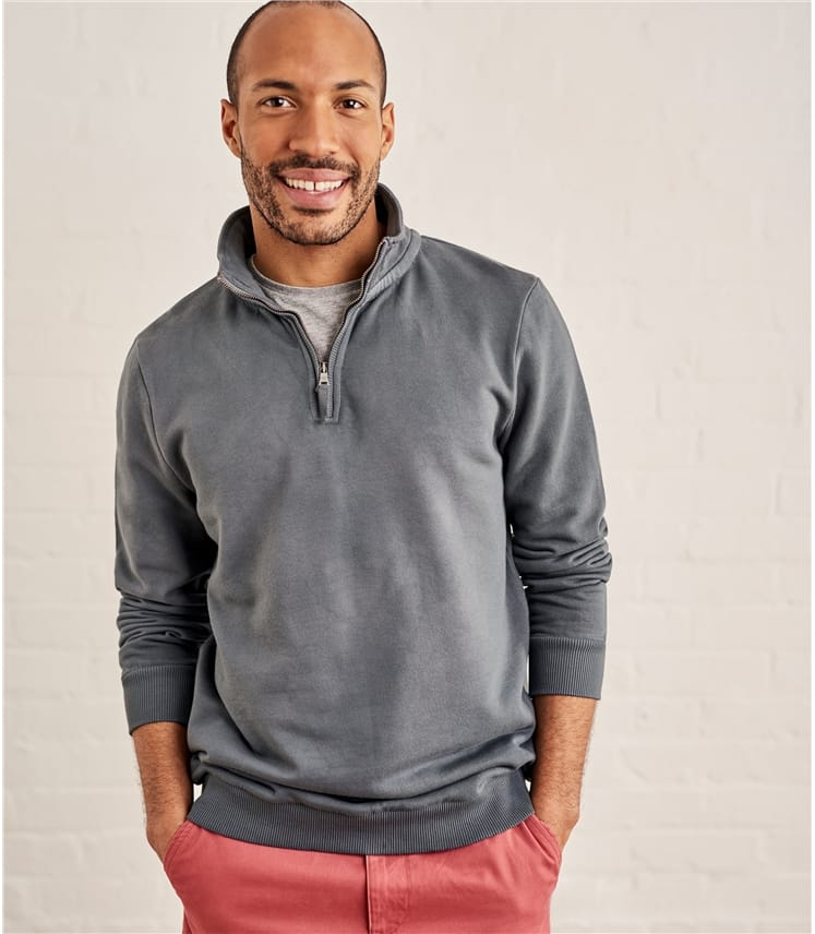 Mens Cotton Half Zip Sweatshirt