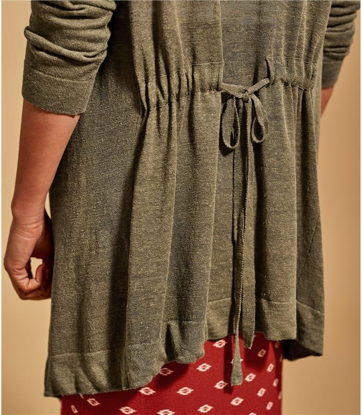 Strickjacke - Hintern gebunden aus Leinenmischung für Damen