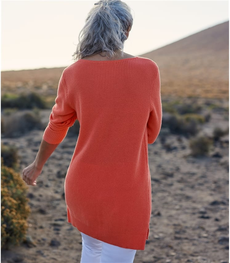Pull côtelé détail pointelle - Femme - Pur Coton