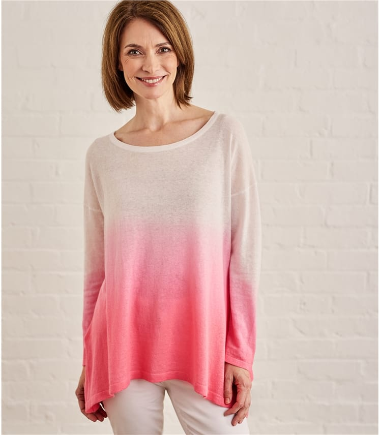 Womens Cotton Blend Dip Dye Jumper