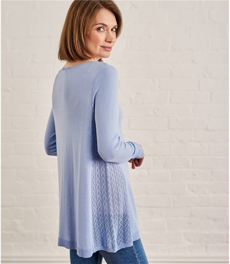 Womens Cotton Pointelle Panel Jumper