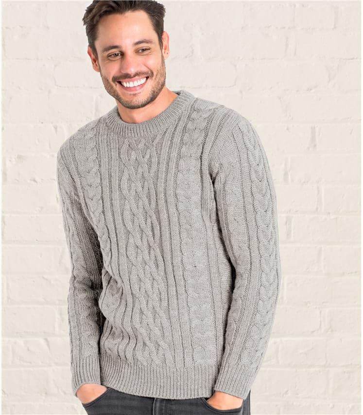 Pullover mit Aran-Muster aus reiner Wolle für Herren