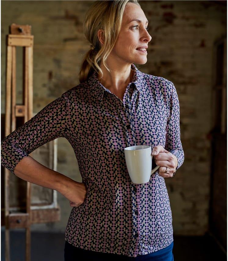 Womens Jersey Print 3/4 Sleeve Shirt