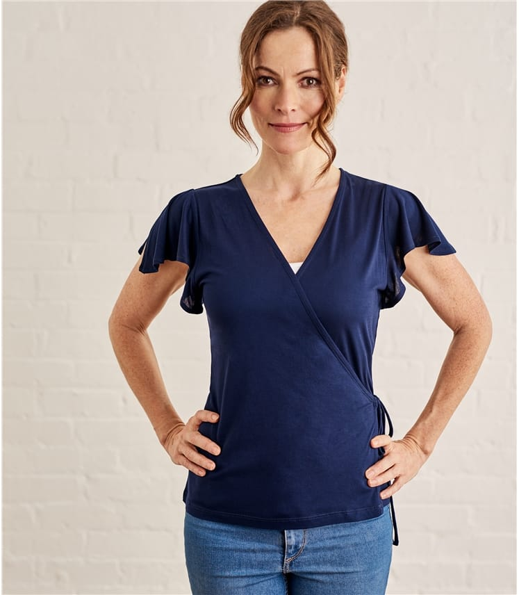 Womens Frill Wrap Top