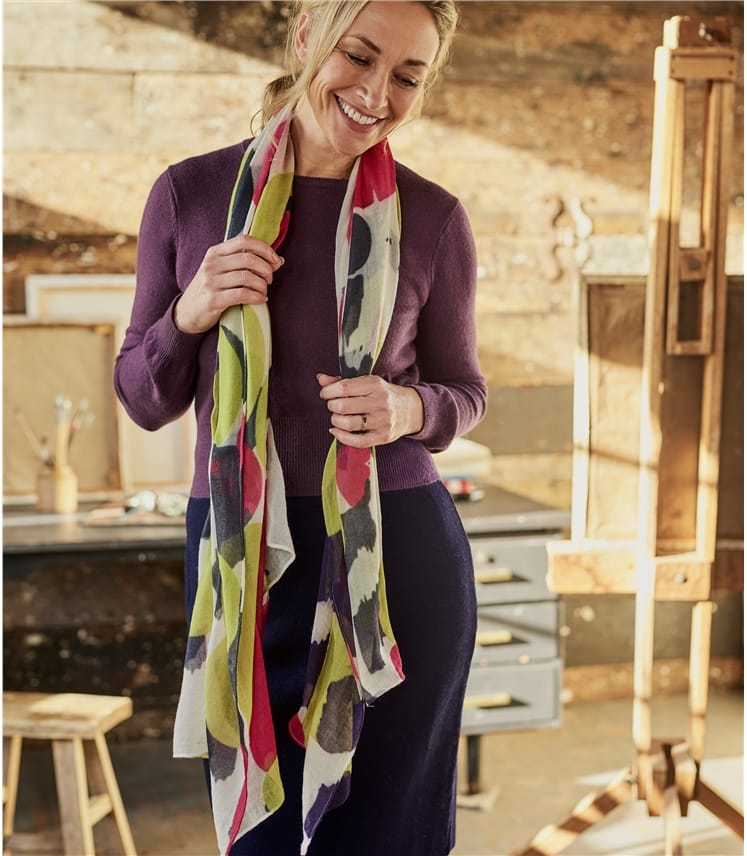 Womens Oversized Blurred Spot Scarf 180x100cm