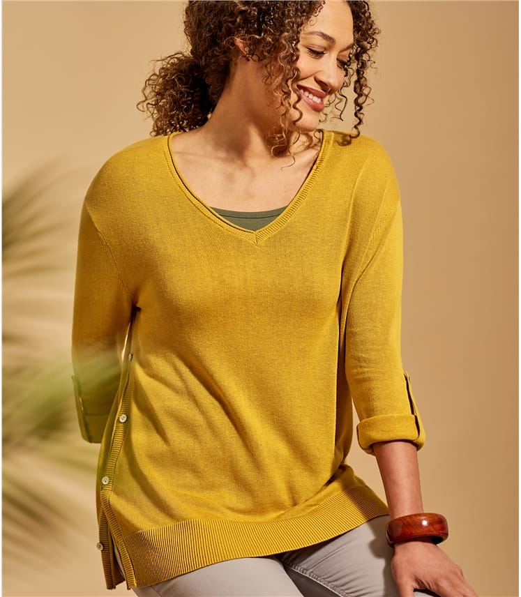 Womens Button Side V Neck Jumper