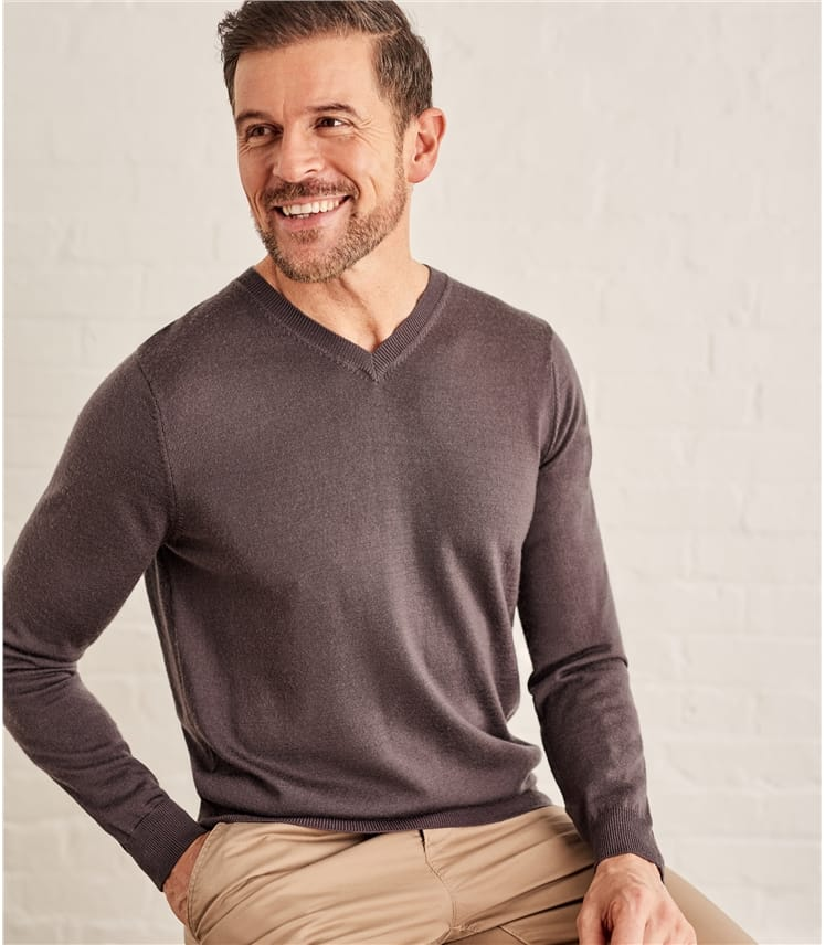 Mens New Merino V Neck Jumper