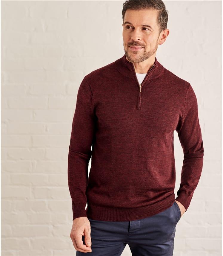 Mens 100% Merino Half Zip Neck Sweater