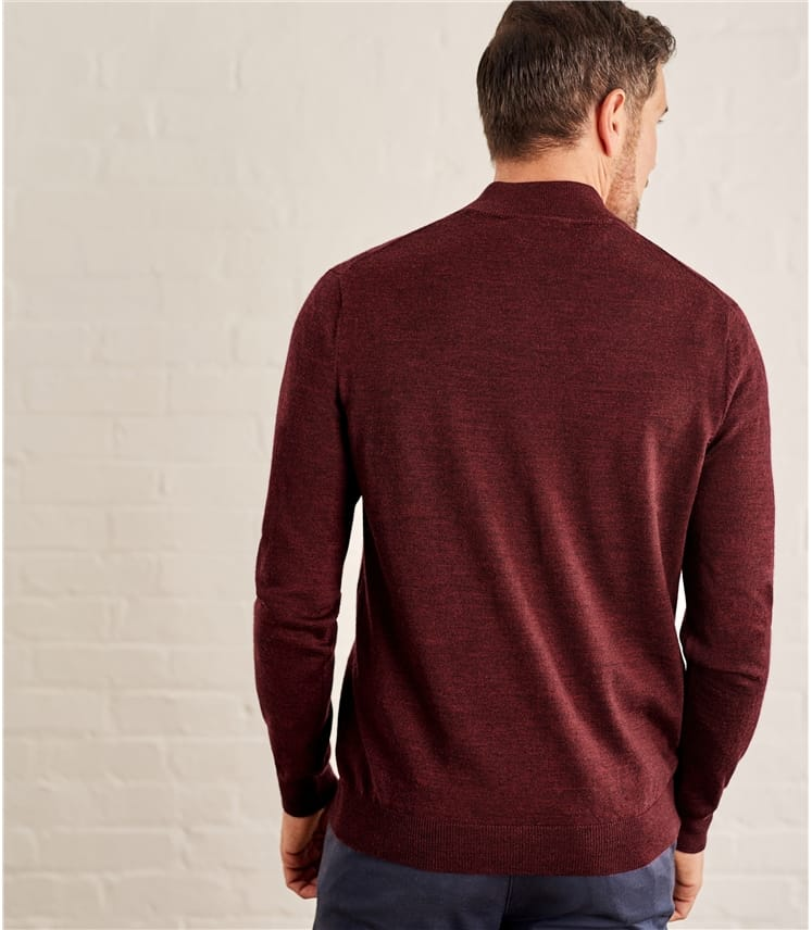 Mens 100% Merino Half Zip Neck Jumper