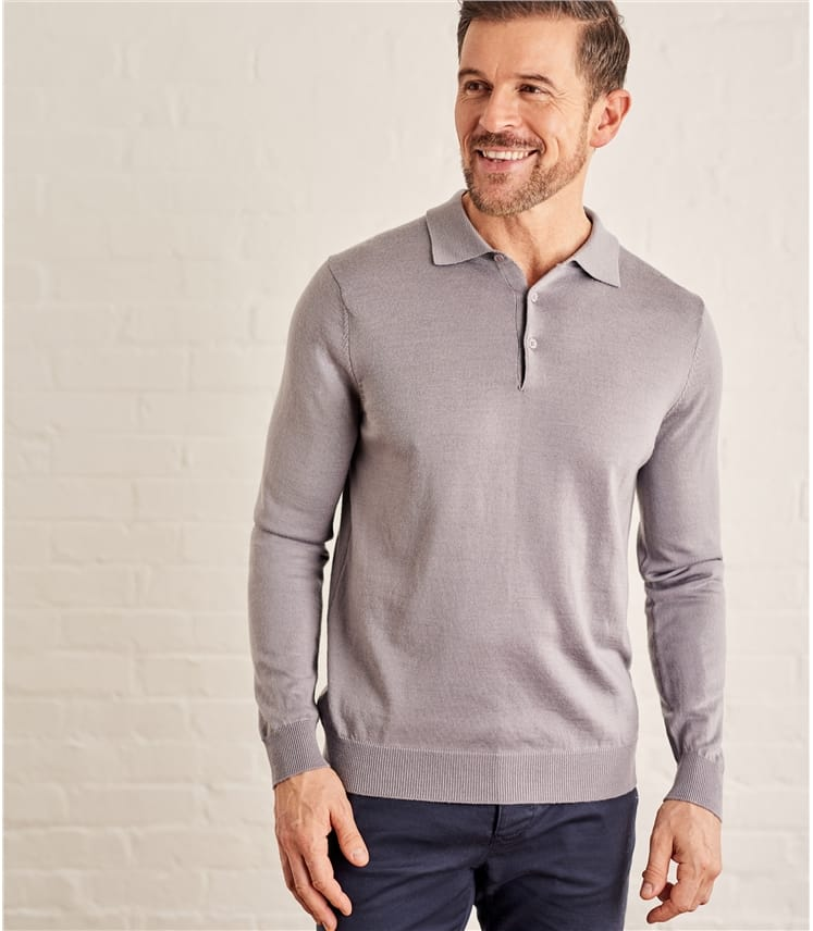 Mens Luxurious Merino Long Sleeve Polo Shirt