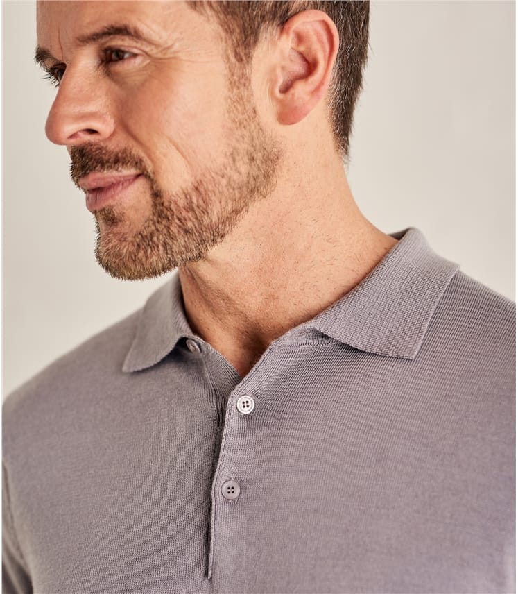 Mens New Merino Long Sleeve Polo Shirt